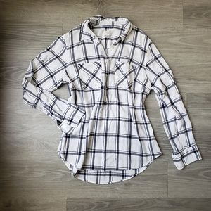 Gray and White Plaid Top